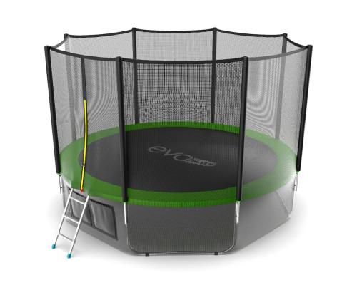 Спортивный батут с защитной сеткой EVO Jump External 12ft (green) + нижняя сеть EVO Jump 14322