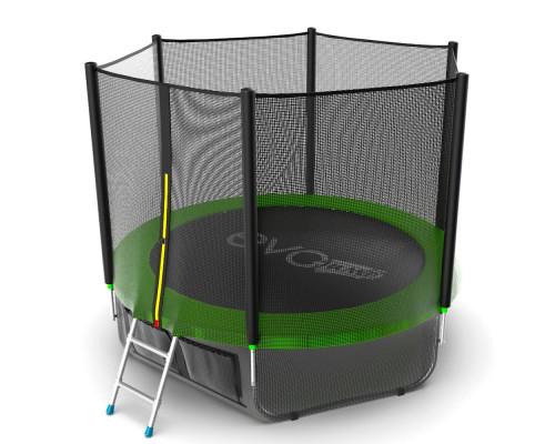 Спортивный батут с сеткой EVO Jump External 8ft (green) + нижняя сеть EVO Jump 14320