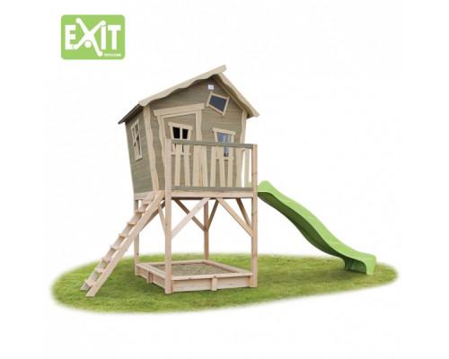 Игровой дом с изгибом и горкой Exit 700