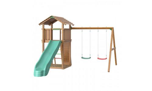 Детский городок с качелями Jungle Gym Jungle Cottage + Swing Module Xtra + Rock Jungle Gym 14303