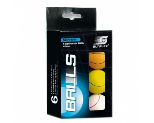 Мячи для настольного тенниса Sunflex Sport 6 шт 40 мм